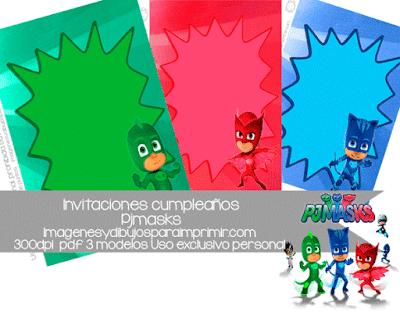 Pj masks Invitaciones de cumpleaños para imprimir