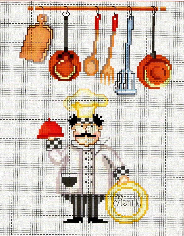 Graficos punto de cruz gratis cocineros 15 tartas for Esquemas punto de cruz cocina