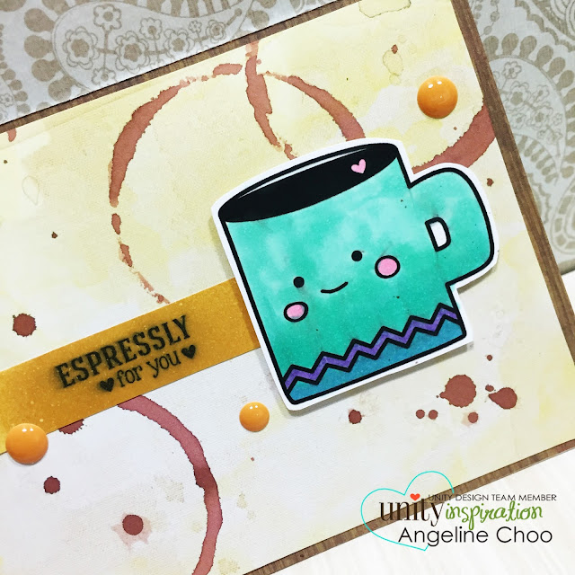 ScrappyScrappy: BIG Blog Hop + [NEW VIDEOS] with Unity Stamp - One Little Latte #scrappyscrappy #unitystampco #card #cardmaking #coffeelover #coffeestain #papercraft #stamp #stamping #dylusions