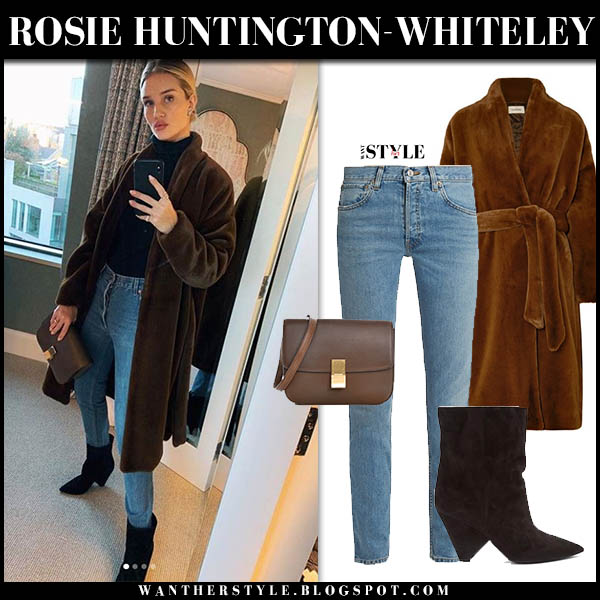 Rosie Huntington-Whiteley in brown faux fur toteme coat, jeans and boots saint laurent model winter luxe style december 14