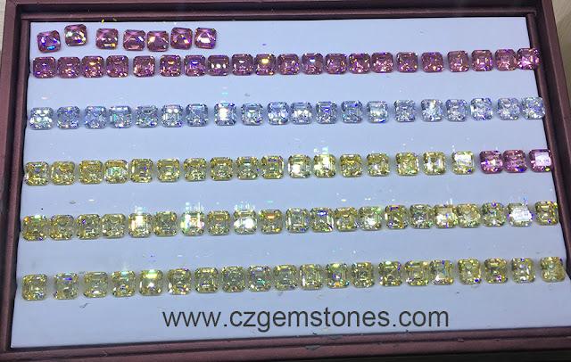 Asscher Cut Colored Cubic Zirconia Loose