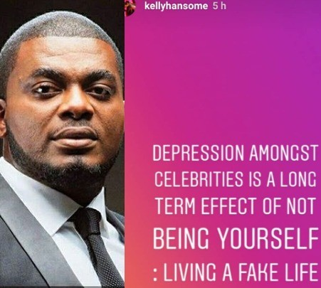 "Kelly Handsome Says ""Many celebrities Suffer Depression Because They Live Fake Lives"""