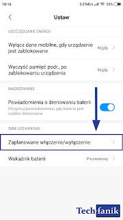 Xiaomi MIUI 10 Zaplanowane Włączenie i Wyłączenie