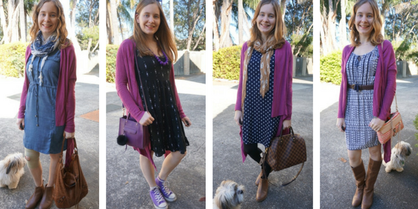 4 ways to wear a purple cardigan with dresses | away from the blue