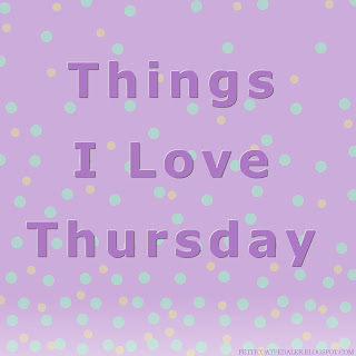 Light purple colored background with sand and green aquamarine dots.  Text in darker purple reads Things I Love Thursday.