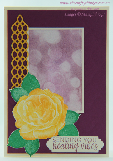 #thecraftythinker #stampinup #cardmaking #rubberstamping #getwellcard , Healing Hugs, Bokeh Dots, Get Well Card, Stampin' Up Australia Demonstrator, Stephanie Fischer, Sydney NSW