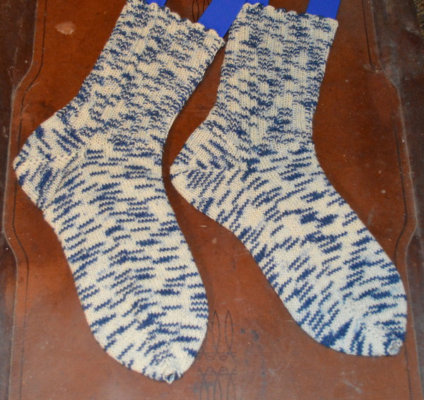 Socks from an Unidentified Skein of Blue and White Opal Sock Yarn