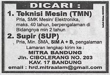 Lowongan Mitra Alam Bandung