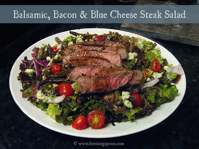 Balsamic, Bacon & Blue Cheese Grass-Fed Steak Salad | The Rising Spoon
