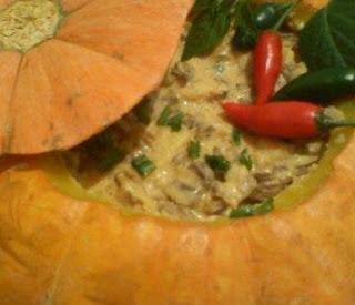 Foto da moranga recheada com carne seca com requeijão