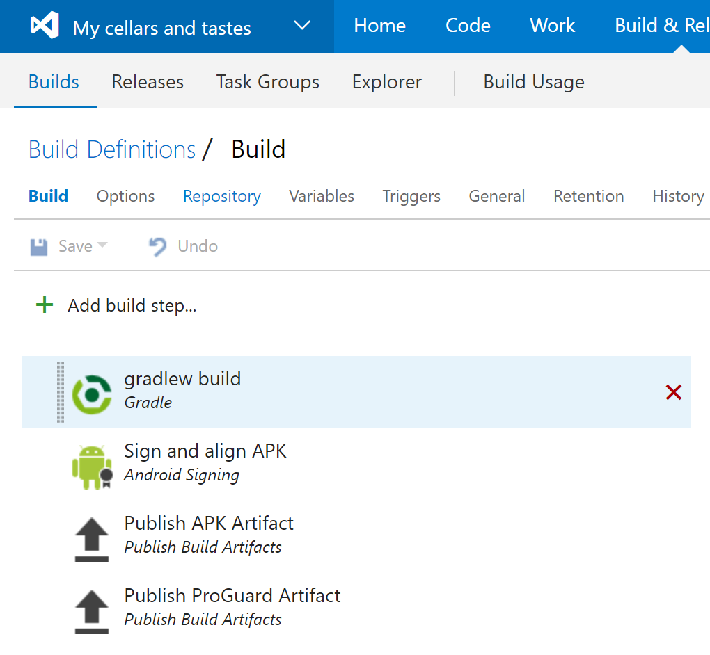 Visual studio team services for managing my android application build definition fandeluxe Choice Image