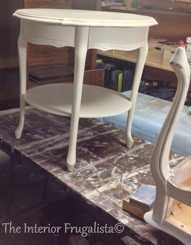 French Provincial Round Side Table BEFORE makeover