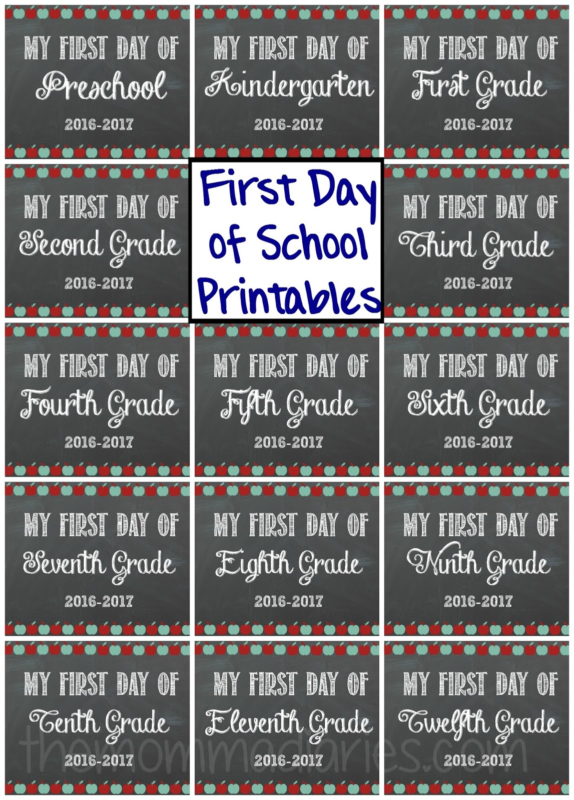 First Day of School FREE Printables! - The Momma Diaries [ 1600 x 1147 Pixel ]