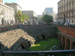 Catania has many Roman ruins, including this amphitheatre in Piazza Stesicoro, which was buried by an earthquake in 1693