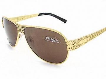 240f4ded0443 Prada SPR53I - Shiny Gold Brown - Titanium Aviator Sunglasses