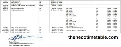 neco bece (js3) time table