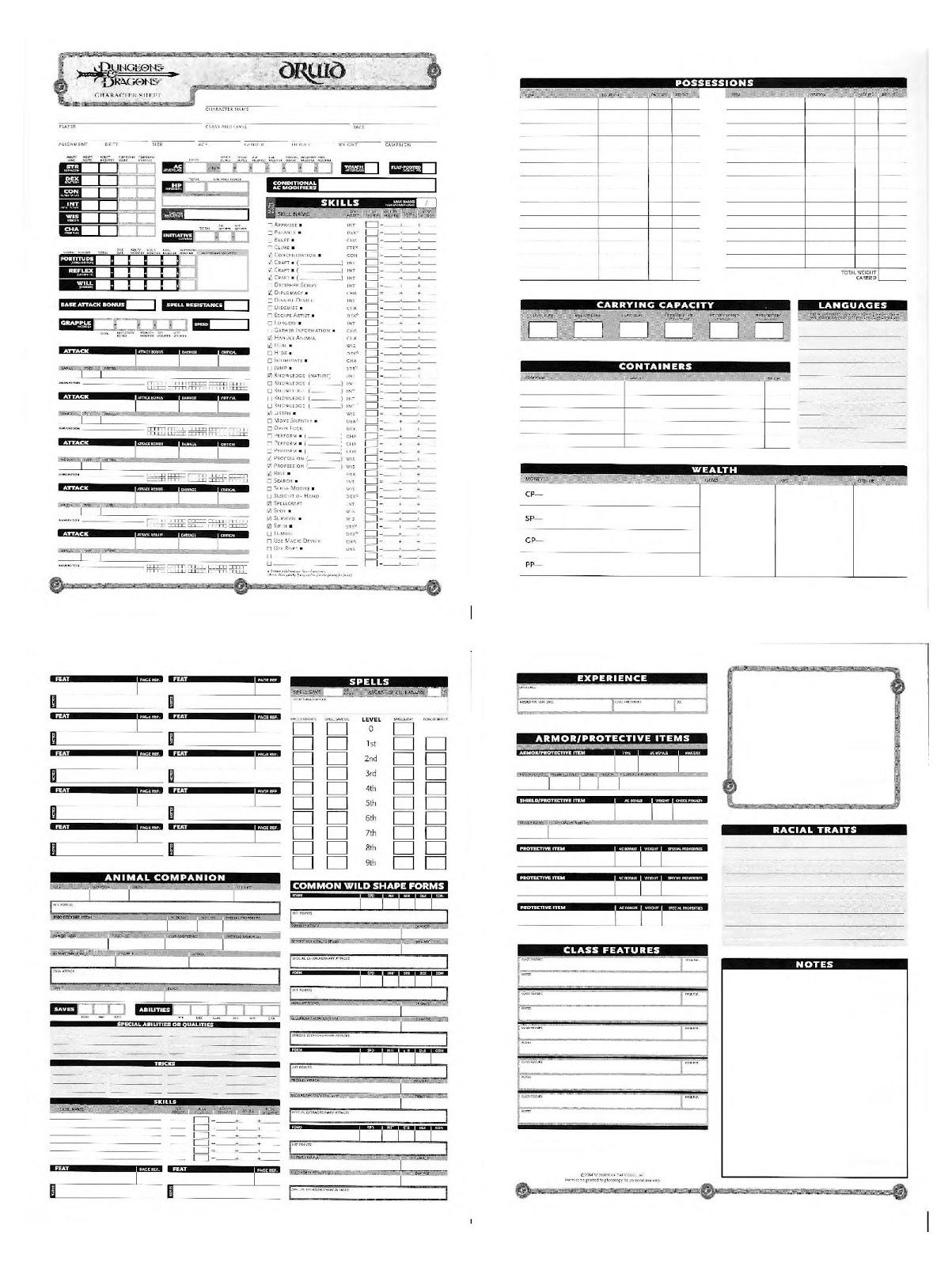 Pathfinder Printable Spell List That Are Agile
