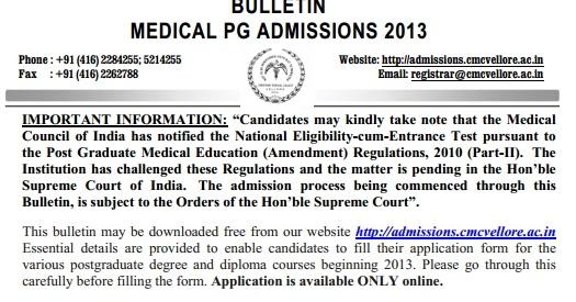 CMC Vellore PG Entrance Notification - AcrossPG Exams!