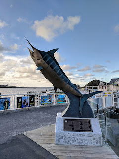 Giant swordfish sculpture in Paihia Town in the Bay of Islands New Zealand