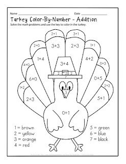 Turkey Color-By-Number Addition