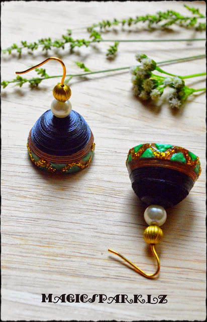 Quilled jhumka black colour