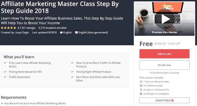 [100% Off] Affiliate Marketing Master Class Step By Step Guide 2018| Worth 199,99$