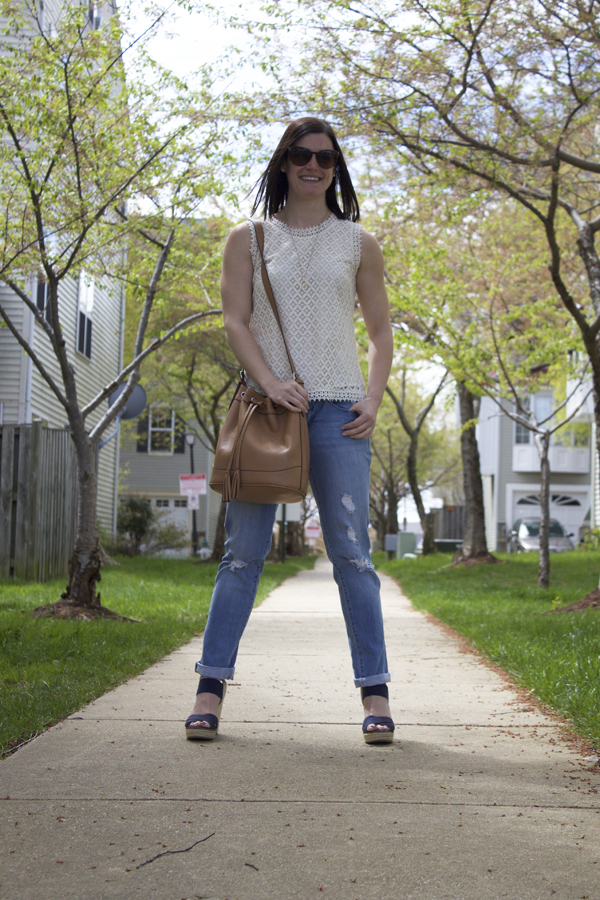 Spring outfit, summer outfit, lace top, Target lace top, cream lace top, bucket bag, tan bucket bag, Target bag, boyfriend jeans, Nordstrom jeans, Target sandals, navy wedges, Target wedges