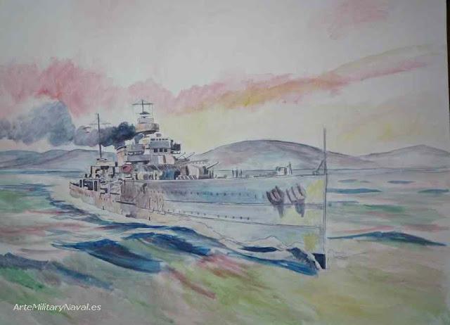 Oleo del crucero Armirante Cervera paso 1
