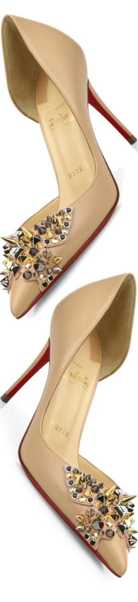 Christian Louboutin Farfa Spikes 85 Leather D'Orsay Pumps in Nude