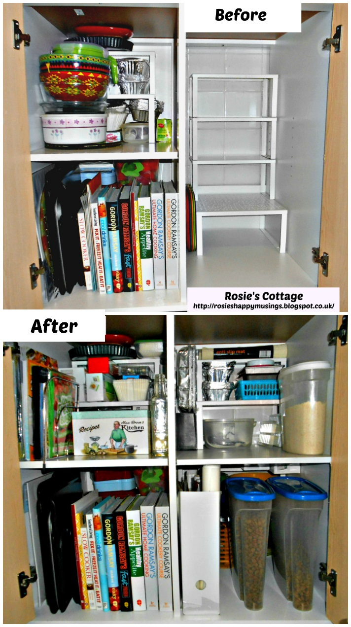 Organized Ikea Fyndig kitchen cabinet - before & after photos