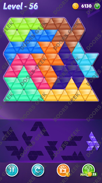 Block! Triangle Puzzle 9 Mania Level 56 Solution, Cheats, Walkthrough for Android, iPhone, iPad and iPod