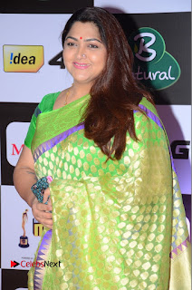 Actress Kushboo Pictures in Green Saree at Mirchi Music Awards South 2015  0001.JPG