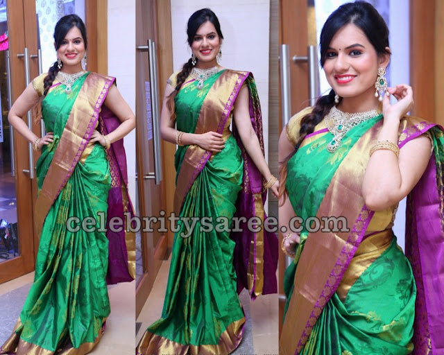 Karnica Karda Green Silk Saree