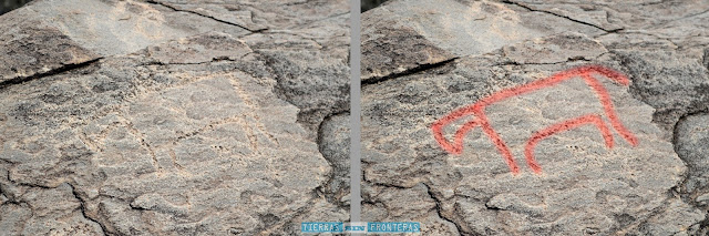 representacion de los grabados rupestres de piedra labra