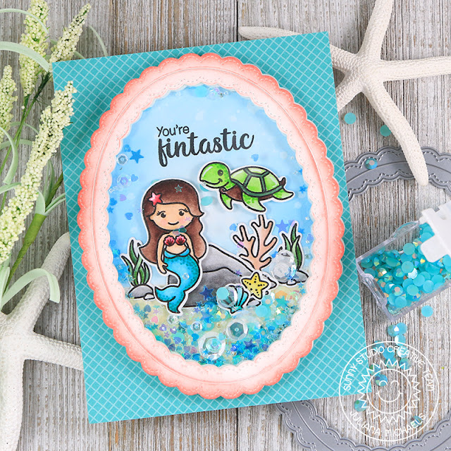 Sunny Studio Stamps: Magical Mermaids Oceans Of Joy Underwater Shaker Card by Juliana Michaels
