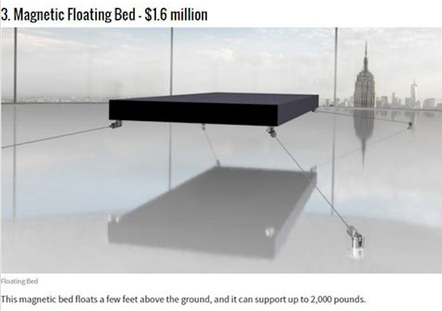 Magnetic floating bed a 1 6 million - 15 Of The Most Expensive Things In The World Download Image Magnetic Floating Bed A 1 6 Million