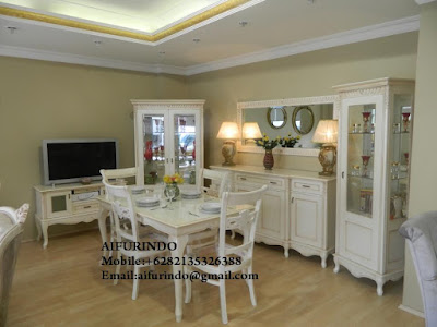 Indonesia Furniture Exporter,Classic Furniture,French Provincial Furniture Indonesia code A156 dining room white painted,dining table duco painted luxurious jepara furniture