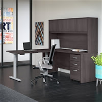 ergonomic sit to stand desk configuration with hutch