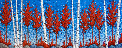 Autumn in Hilltopper Country painting by artist aaron kloss duluth mn, pointillism, painting of red maples, painting of birch trees, duluth artist, minnesota artist, duluth mn artist, birch tree painting