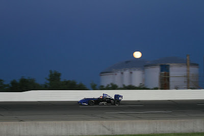 Lloyd Read in the Almost Everything Formula Car in the nightime preview race before the 2013 Indy 500