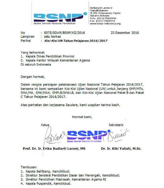 Surat Edaran mengenai Kisi-Kisi UN Tahun 2017 dari BSNP