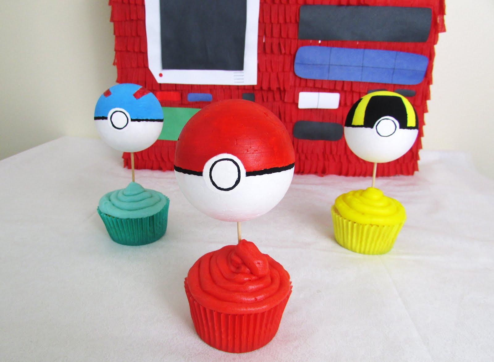 DIY Poké Ball Cupcake Toppers for Pokémon Day