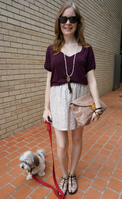 Burgundy wine oversized tee metallic lace mini skirt