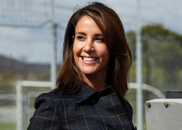 Princess Marie wore Theory Abla Check Double Breasted Coat and she wore Tara Jarmon silk blouse