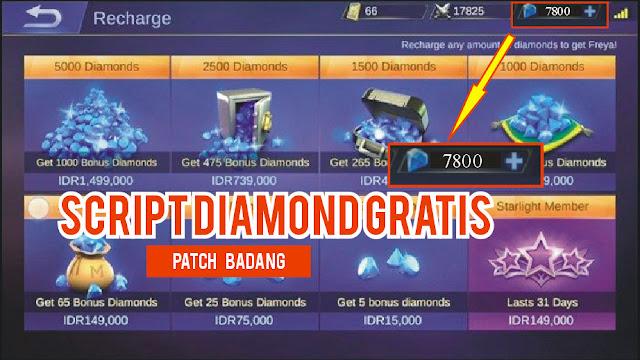 Script Mendapatkan 7800 Diamond Gratis Patch Badang Versi Terbaru