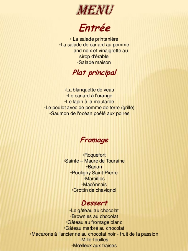 Restaurant Espagnol Menu