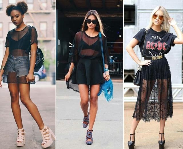 Tendência de moda primavera verão 2018 - sobreposição com transparencia