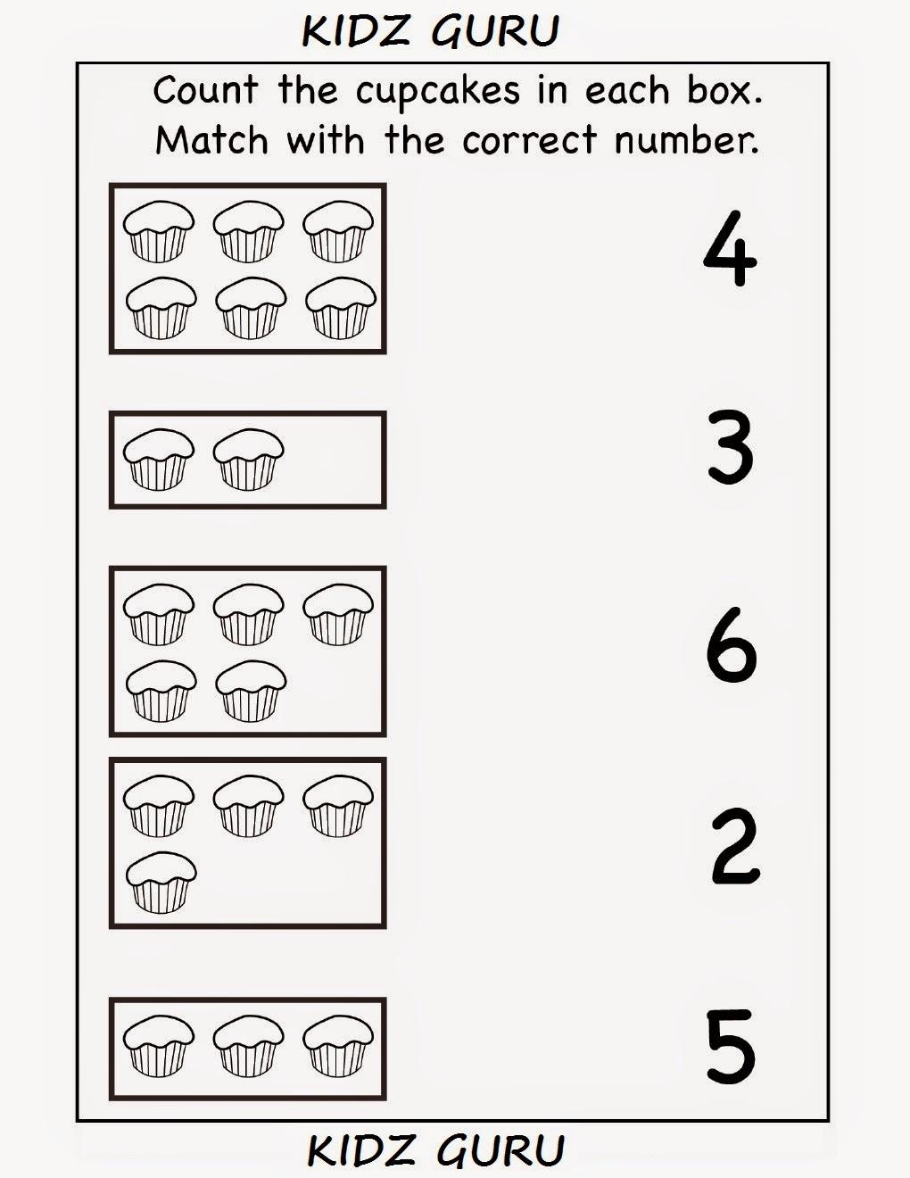 Worksheets Kindergarten Matching Worksheets kindergarten worksheets printable count and match match