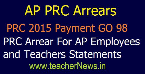 AP PRC Arrears Payment GO 98 – PRC 2015 Arrears For AP Employees and Teachers