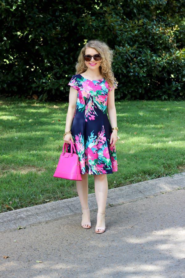 Eliza J. Floral Print Scuba Fit & Flare Dress, Nordstrom, Lawyer Lookbook